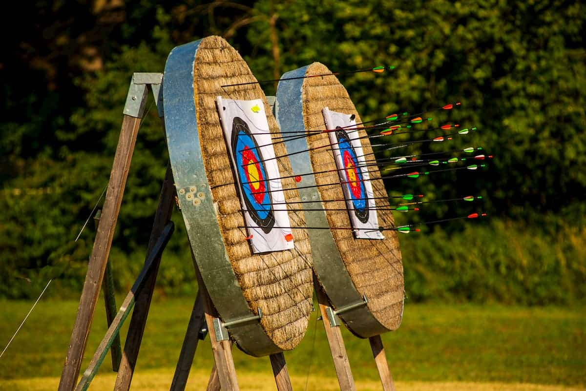 Archery range close up hit with lots of practice arrows - What Are the 11 Steps of Archery