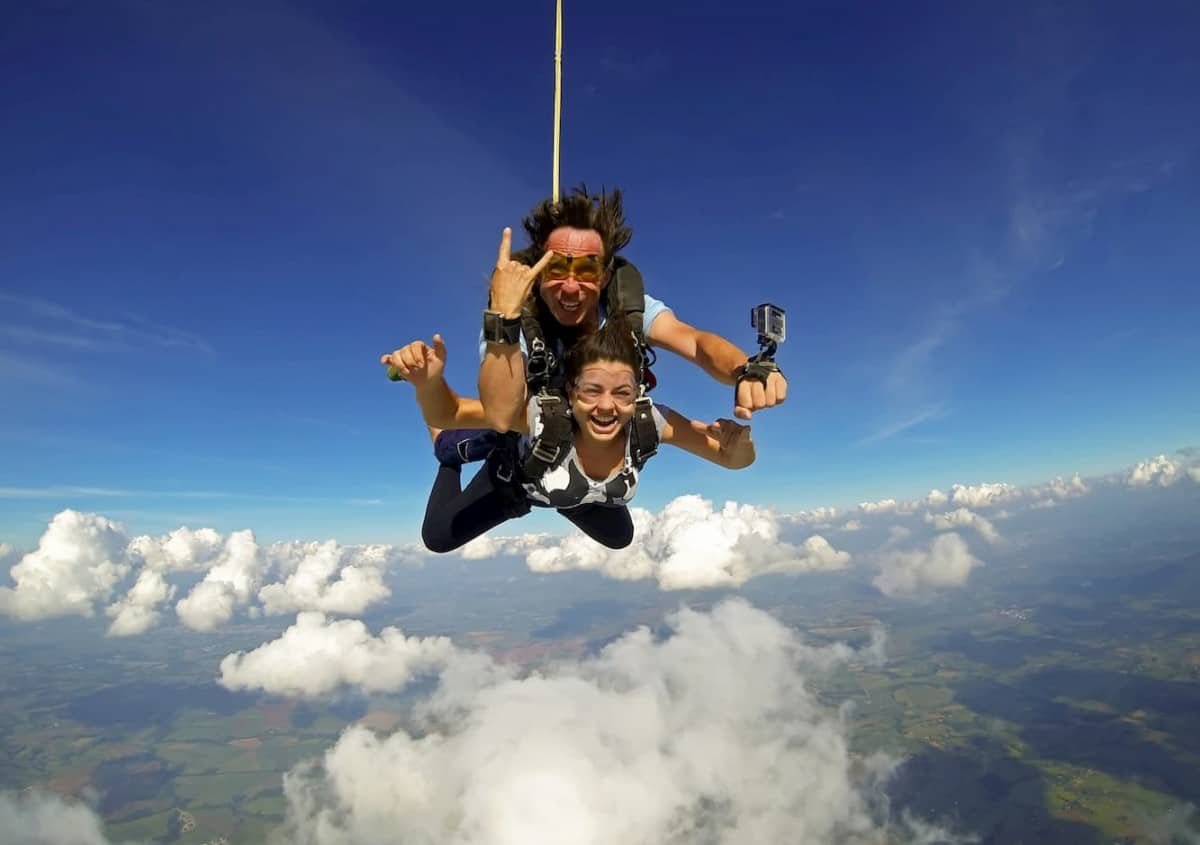 Skydiving tandem two people having fun - post on What is Tandem Skydiving