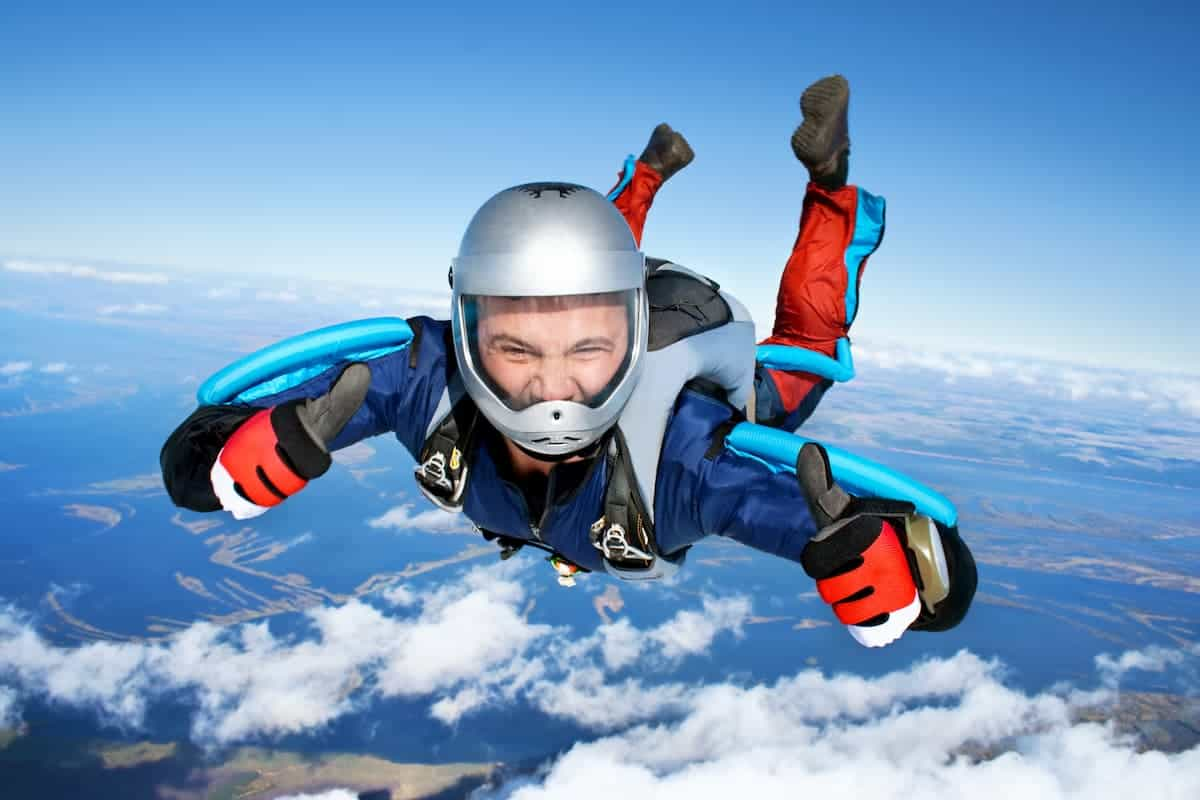 Feeling the rush, skydiving through the air with thumbs up - What is Skydiving